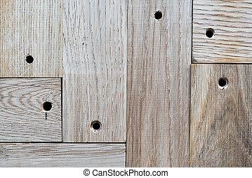 木製である, 穴, オーク, oled, クローズアップ, 板