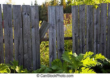 木製である, 穴, 古い, フェンス