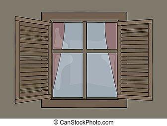 木製である, 窓, 古い, シャッター