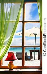 木製である, 窓, 海の 眺め