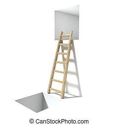 木製である, 窓, 穴, はしご
