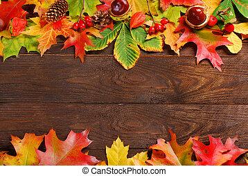 木製である, 紅葉, ボーダー, 背景