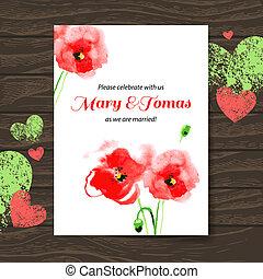 木製である, 結婚式, 水彩画, ベクトル, 背景, 招待, poppy., カード