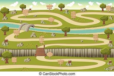 木製である, 緑公園, 道 印