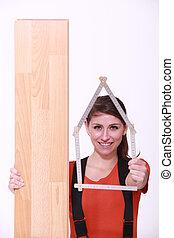 木製である, 肖像画, 女, 板