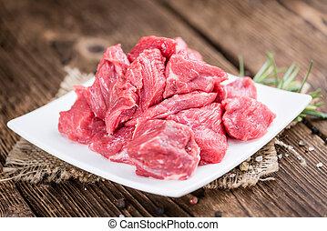 木製である, 背景, フィレ, 牛肉, (chopped)