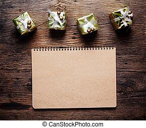 木製である, 背景, 箱, 贈り物, ノート型パソコンペーパー