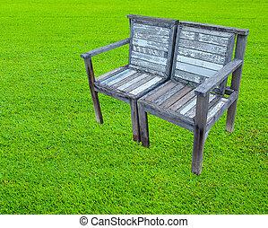 木製である, 芝生, 古い, ベンチ
