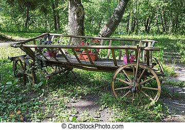 木製である, 花, 古い, カート, 絵のよう