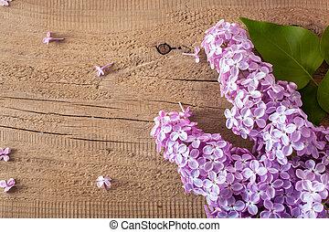木製である, 花, 背景, 美しい, ライラック