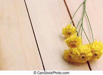 木製である, 花, 黄色の背景