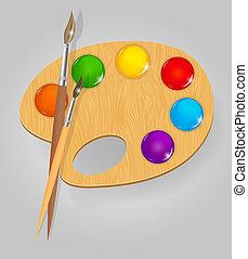 木製である, 芸術, パレット, ∥で∥, ペンキ, そして, brushe