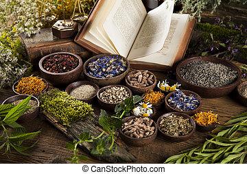 木製である, 草, 本, 背景, 薬, テーブル