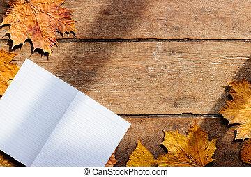 木製である, 葉, 9 月, 壁紙, space., ノート, 秋, コピー, 1., 背景