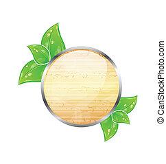木製である, 葉, eco, 緑, 板, 円