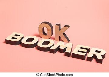 木製である, 言葉, バックグラウンド。, 人気が高い, meme, ピンク, インターネット, 人々。, オーケー, boomer., 若い