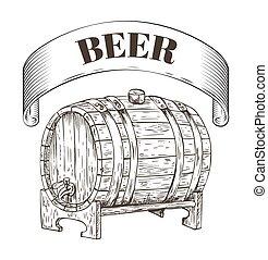 木製である, 貯蔵, イラスト, ビール, ベクトル, 樽
