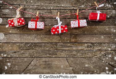 木製である, 贈り物, 板, クリスマス, 置かれた