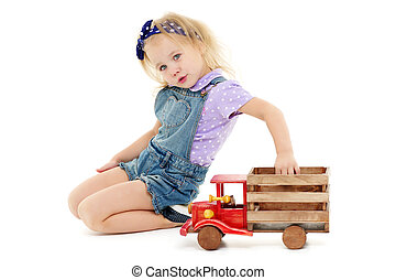 木製である, 車。, 遊び, 女の子, わずかしか