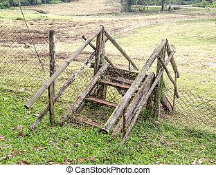 木製である, 農場, 古い, 階段
