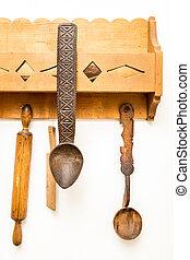 木製である, 道具, 古い, 台所