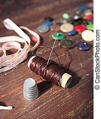 木製である, 道具, 裁縫, 古い, 背景