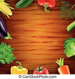 木製である, 野菜, 上, 背景, 光景
