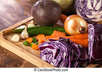 木製である, 野菜, 健康に良い食物, verious, 新たに, テーブル