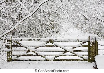 木製である, 門, 中に, 雪