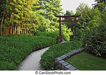 木製である, 門, 中に, a, タケ果樹園