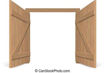 木製である, 門, 古い, 大きい, 開いた