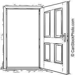 木製である, 開いた, ベクトル, ドア, 漫画