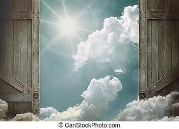 木製である, 開いた, 天国, 空, ドア