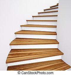木製である, 階段