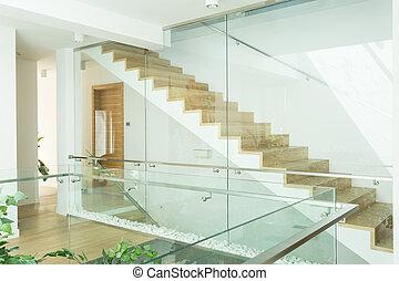 木製である, 階段, 明るい, 廊下, minimalistic