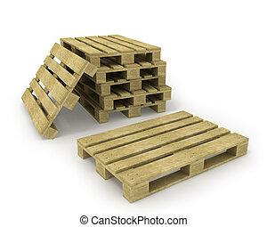 木製である, 隔離された, パレット, パレット, 白, 山
