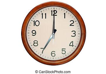 木製である, 隔離しなさい, 時計, 円, 型, 白, フレーム, 背景