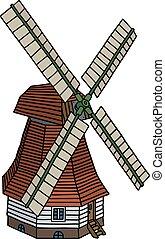 木製である, 風車, 古い, 赤