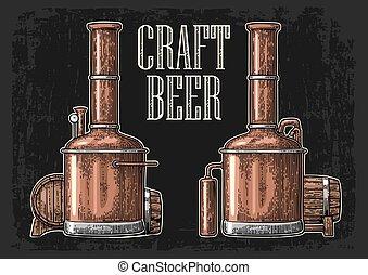 木製である, beer., タンク, 樽, 醸造所, 横列