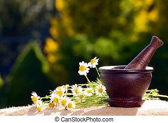 木製である,  chamomiles, すりこぎ
