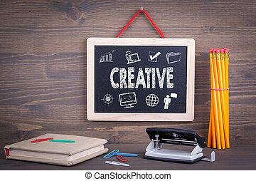 木製である, concept., 創造的, 黒板, 背景, アイコン