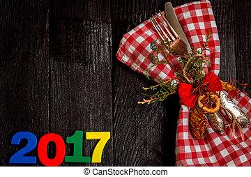 木製である, cutlery, 黒, 数, 背景, 2017, クリスマス