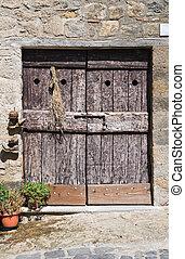 木製である, door., bolsena., italy., lazio.