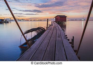 木製である, georgetown, 日の出, 突堤, 橋, かみなさい, 小屋, penang.