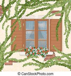 木製である, ivy., 大きくなりすぎた, 窓, シャッター