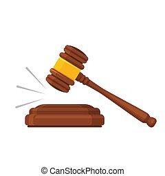 木製である, law., ベクトル, 法的, mallet., 正義, hammer., オークション, 小槌, シンボル。, 法廷