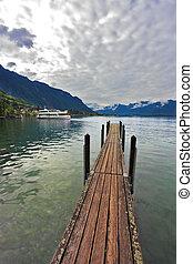 木製である, leman, 桟橋, 湖, ボート