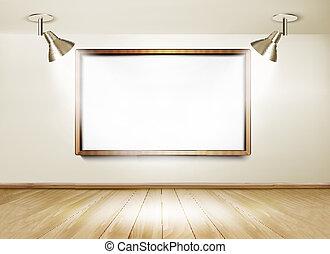 木製である, lights., 床, 2, 板, vector., ショールーム, 白