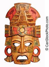 木製である, mayan, マスク, 刻まれた, 手