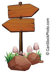 木製である, signage